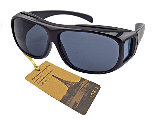 Utrax Clear View Vision UV Protection Wraparound Driving Glasses Sunglasses Black Yellow Lens Fits Over Eyeglasses (Black for - Uv With Protection Affordable Sunglasses