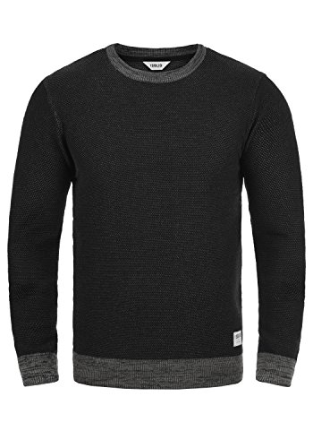 solid Maille Raekwans Encolure Homme Rond 100 En 9000 Tricot over Pull Black Pull Coton wrrtqp
