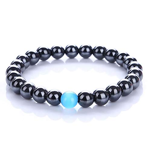 CAT EYE JEWELS 7.5inch Natural Magnetic Hematite Bracelet with Blue Semi-Precious Stones (H64)
