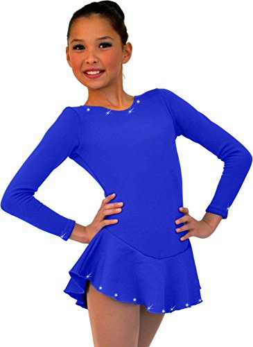 ChloeNoel DLF38 - Long Sleeve Fleece Figure Skating Dress with Crystals Royal Blue Child Extra Small