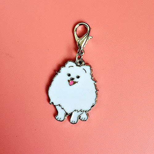 Key Chains - Fashion Jewelry White/Brown Pomeranian Keychain Pet Dogs Key Ring Gift for Woman Drop Shipping Can Wholesale Keyring Car - by Mct12-1 PCs