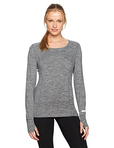 - Terramar Women's Cloud Nine 4-Way Stretch Brushed Long Sleeve Scoop Neck Hoodie, Grey Melange, Small (6-8)