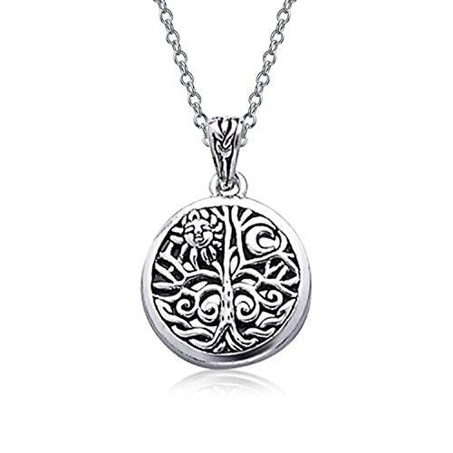 Family Unity Medallion - Round Medallion Celtic Sun Rising And Family Tree Of Life Pendant Necklace For Women Oxidized 925 Sterling Silver