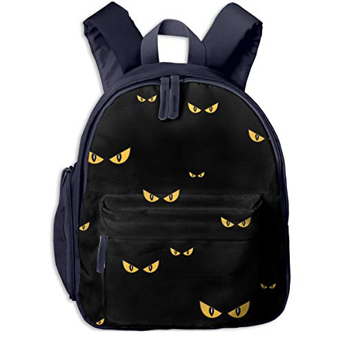 Spooky Monster Eyes In The Dark Halloween Pattern Double Zipper Waterproof Children Schoolbag With Front Pockets For Kids Boys Girls ()