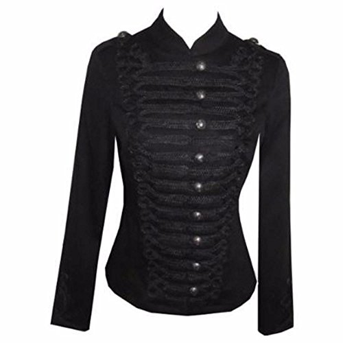 Military Victorian Gothic Indie SteamPunk Black Jacket Coat qxB7CZwx
