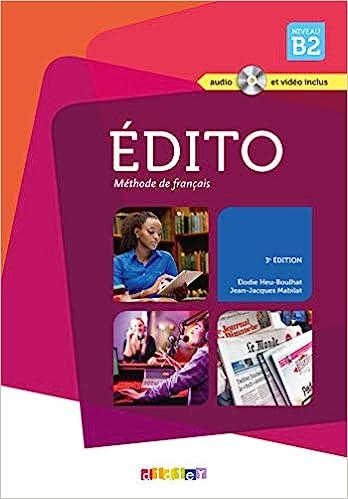 Edito Niveau B2 3e Edition 2015 Livre Cd Dvd