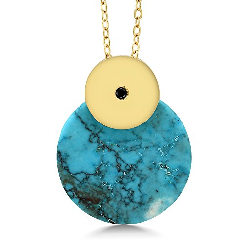 Gem Stone King Round Blue Simulated Turquoise Pendant Necklace With Black Diamond Accent With 18 Inch Chain