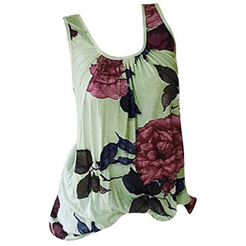 Womens Sleeveless T-Shirt Tees Casual Flower Print CrewneckPlus Size Blouse Tops Bird Womens Cap Sleeve T-shirt
