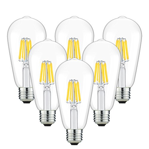 Antique LED Bulbs, 8W ST64 Dimmable Vintage Edison LED Bulbs, 80W Equivalent, Squirrel Cage Filamen Bulb, Soft Warm White 2700K, 680 Lumens, E26 Clear Glass , Pack of 6(2 Year Warranty )