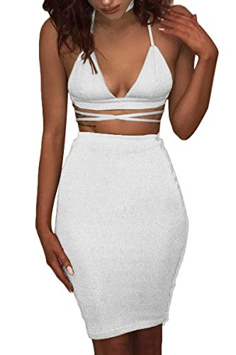 ioiom Women V Neck Crop Top Midi Skirt Sparkly Party Bodycon Bandage Dress White S