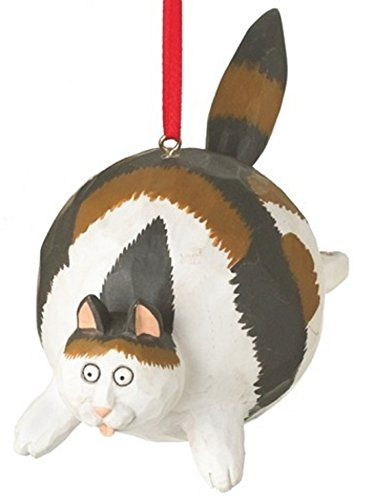 (On Holiday Calico Fat Cat Christmas Tree Ornament Hanging from His Back by Midwest 4.75 inch Made of Polyresin)