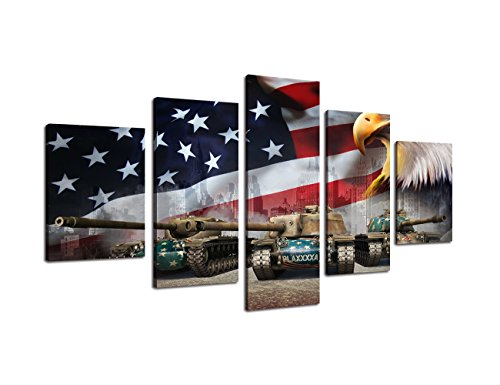 USA Flag Canvas Print Wall Pictures for Living Room American