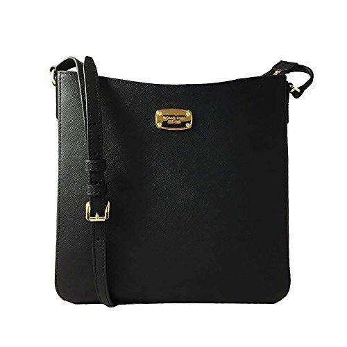 MICHAEL Michael Kors Jet Set Travel Large Messenger Leather Womens Crossbody Bag 35T6GTVM2L BLACK by Michael Kors