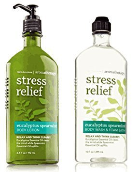 Bath   Body Works  Aromatherapy Stress Relief Body Lotion And Body Wash   Foam Bath  Eucalyptus Spearmint  Bundle Of 2