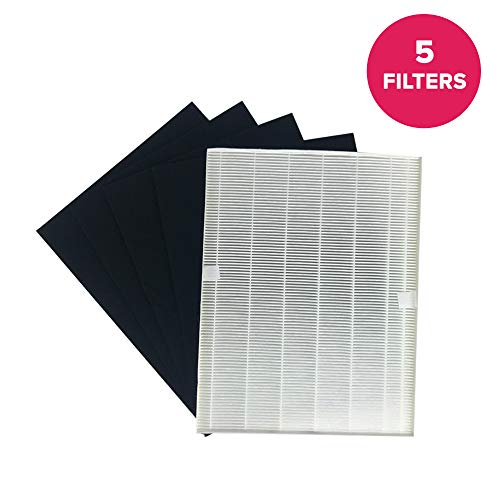 Crucial Vacuum Replacement Air Purifier Filter and Carbon Filter Kit - Compatible with Fellowes Part # HF-300 - Fit Fellowes AP-300PH Air Purifier Model - (1 Pack)