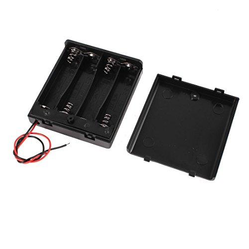 Onwon 4 x 1.5V AA Battery Case Holder Leads Black w Cap Whith On/Off Switch 2 Pcs