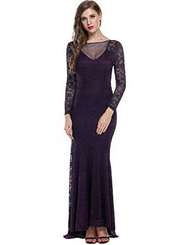 ANGVNS Bridesmaid Dress Women Floral Lace Long Sleeve Maxi Dress Purple Small - Bridesmaid Womens Long Sleeve