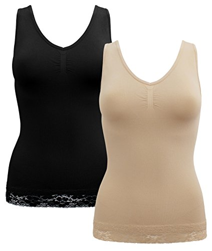 13b6a48585016 A B S BY ALLEN SCHWARTZ Women s 2 Pack Seamless V-Neck Built-up Shaping Cami
