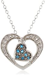 Sterling Silver Blue and White Diamond Double Heart Pendant Necklace (0.07Cttw, G-H Color, I2-I3 Clarity), 18""