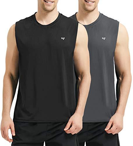 Roadbox Men's Performance Sleeveless Workout Muscle Bodybuilding Shirt Athletic Running Quick-Dry T-Shirt 2 Pack (Shirt Tech Sleeveless)
