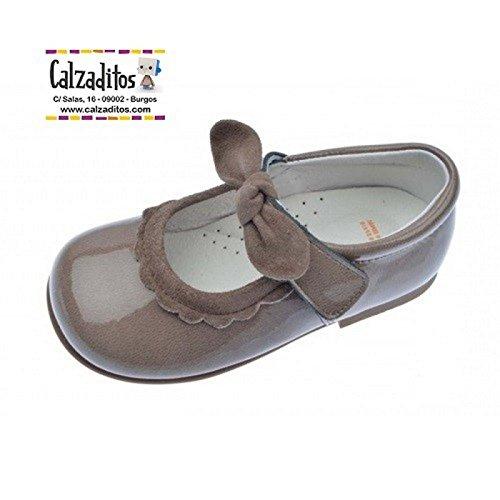 8616df53a7 Andanines Merceditas para niña en Charol Kaffir Taupe con Velcro