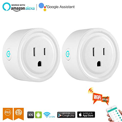 Smart Plug Mini 2 Packs WiFi Enabled Smart Outlet Work with Amazon Alexa & Google Home,Remote Control your Devices from Anywhere,No Hub Required,ETL& FCC certification, Smart Socket by GinCuky by GinCuky