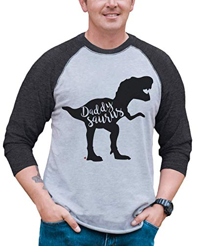 7 ate 9 Apparel Men's Daddysaurus Dinosaur Raglan Tee XL Grey (Transfer Peel T-shirt)