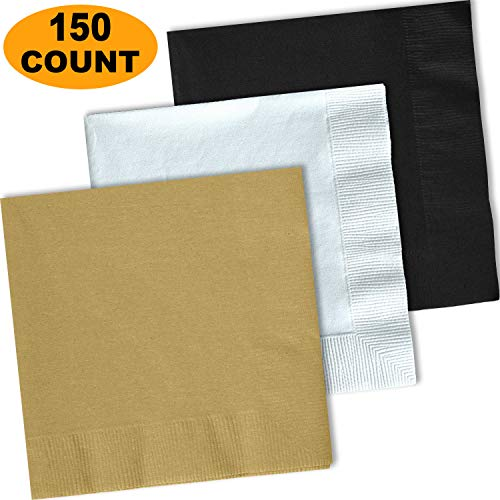 150 Lunch Napkins, Glittering Gold, Bright White, Midnight Black - 50 Each Color. 2 Ply Paper Dinner Napkins. 6.5