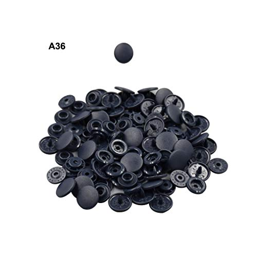 Blue Black Plastic Snap Fasteners Size 20 100Sets Snap On Clothing Plastic Snap Button Matte T5 Round for Baby Clothes - Matte Buttons