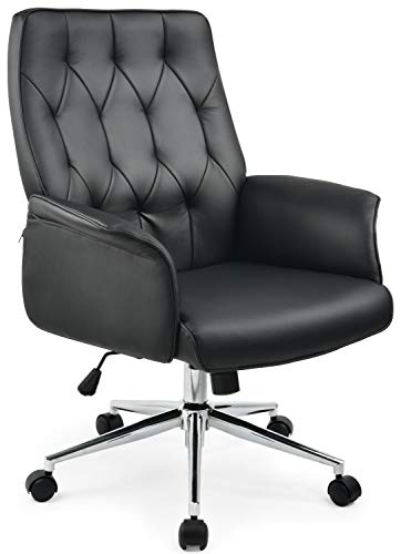 COMHOMA Modern Home Office Chair Vegan Leather Upholstered Stylish Design Adjustable Mid-Back Desk Chair Ergonomic Executive Conference Chair Black