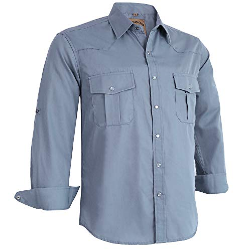 Coevals Club Men's Long Sleeve Casual Western Plaid Buttons Shirt (XL, Light Gray) (Long Sleeve Plaid Casual)