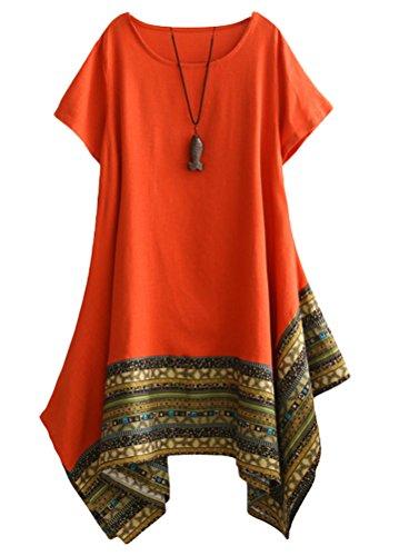 Minibee Women's Ethnic Cotton Linen Short Sleeves Irregular Tunic Dress (L, Orange) ()