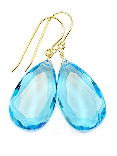 14k Yellow Gold Filled Swiss Blue Simulated Topaz Earrings Faceted Large Pear Teardrops Simple Briolette Dangle Drops