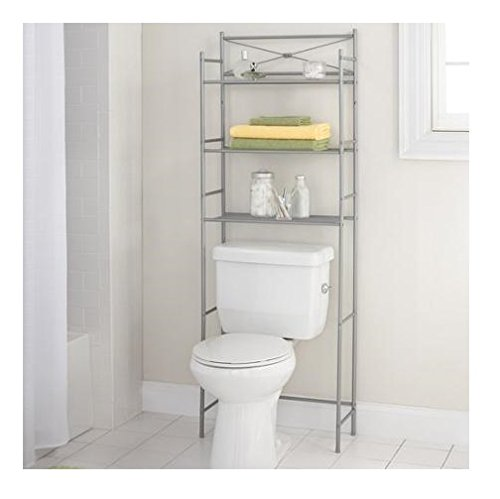 Mainstay.. 3-Shelf Bathroom Space Saver Storage Organizer Over The Rack Toilet Cabinet Shelving Towel Rack (Satin Nickel) (3 Shelf Space Saver)