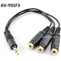 CablesOnline 3.5mm (1/8) TRS Male Plug to 3x Female Stereo Audio Splitter, (AV-Y01F3)