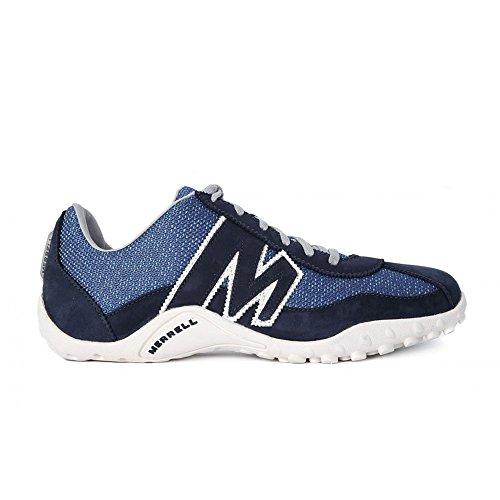 Merrell - Zapatillas deportivas para hombre Sprint Blast, palas de ante y malla Blanco-Negro-Azul marino