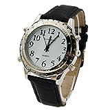 Talking Wrist Watch with Alarm, Analog hands and digital Talking clock (black)