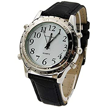 Talking Wrist Watch with Alarm, Analog Hands and Digital Talking Clock (Black)