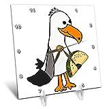 3dRose All Smiles Art - Birds - Cute Funny Unique Seagull eating Taco Beach Cartoon - 6x6 Desk Clock (dc_288231_1)