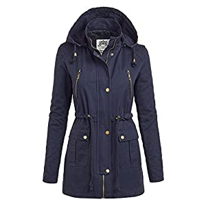 MBJ Womens WJC1046 Quilted Anorack Jacket with Hoodie M NAVY
