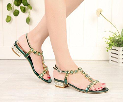 Honeystore Shoes Party Heel PU Rhinestones Women Green Sandals Leather Round Low 1xw1q4OATF