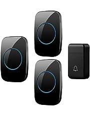 Self-Powered Wireless Doorbell, 3 Volumes, 38 Melody Options, 200M Remote Doorbell Kit, 1 Button and 3 Receivers, IP44 Waterproof Electric Doorbell,Black