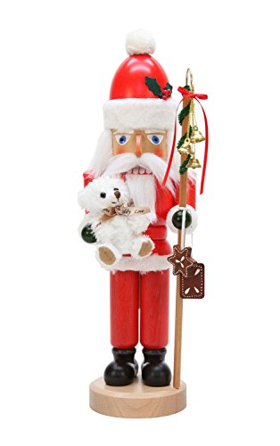 Alexander Taron Christian Ulbricht Decorative Santa with white teddy bear Nutcracker by Alexander Taron