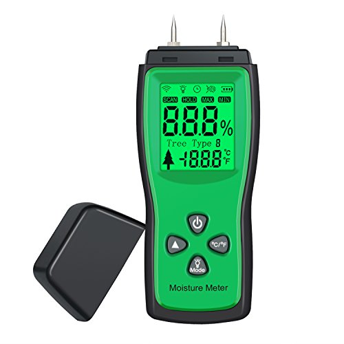 Moisture Meter Neoteck Portable Digital Moisture Detector Pin Type with Large LCD Display for Acurrately Measuring the Percentage of Water in Walls Firewood Paper Cordwood and Trees by Neoteck