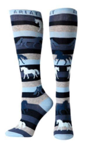 Ariat Women's Women's Stripe Horse Over the Calf Novelty Sock Sockshosiery, Blue, (Ariat Womens Socks)