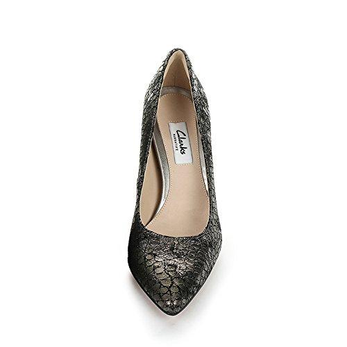 Clarks Dinah Keer Damen Pumps Grau (Metallic Leather)