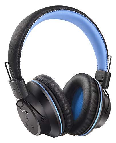 Bluetooth Headphones BestGot S1 Wireless Headset Foldable for Kids Adults 20Hrs Playtime Over-Ear Wireless Headphones with Mic for PC/Cell Phone White/Blue