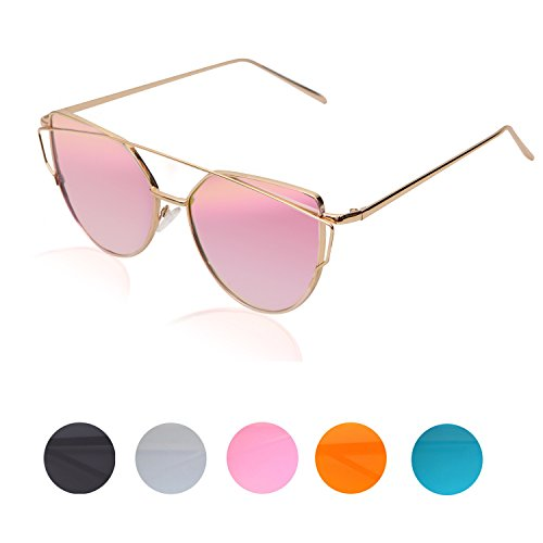 Mode Metallique Verres 1 Femme Sunglasses de de Cateye Soleil Œil Lunette Twin Polarisé Mannli Beams Chat Rose Fashion Or Women 78Pq4T1
