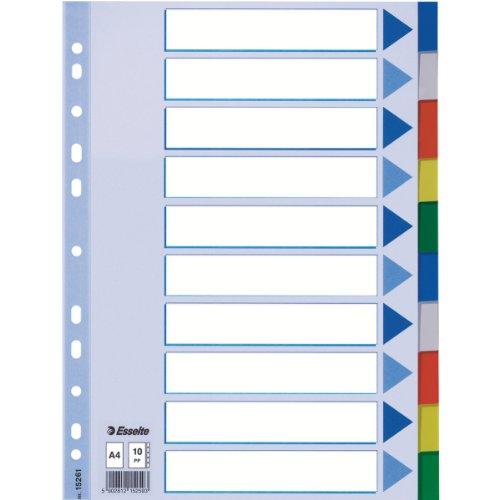 11611 PP Tama/ño folio Gama STD Esselte Separadores de pl/ástico Multicolor 5 pesta/ñas