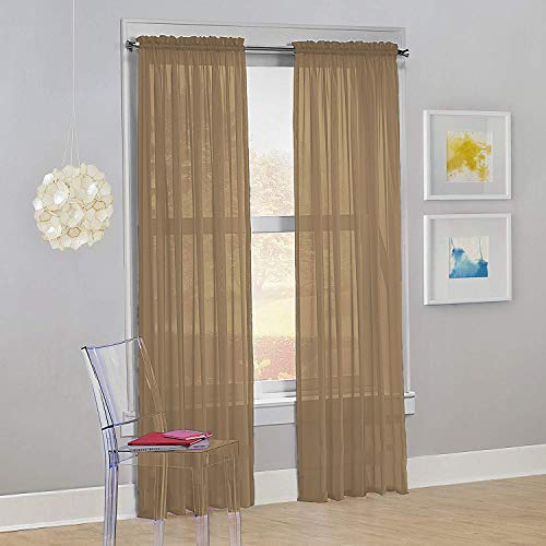 """Decotex Set of 2 Sheer Voile Transparent Window Panel Curtain Drapes (54"""" W X 95"""" L, Taupe)"""